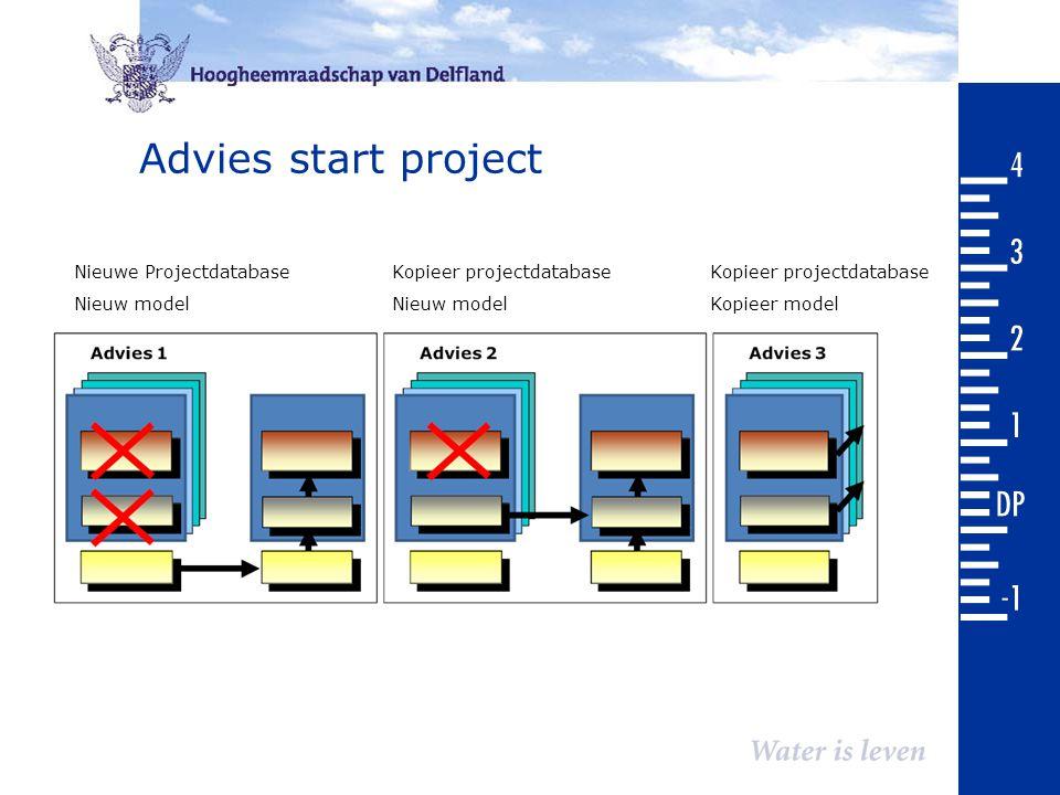 Advies start project Nieuwe ProjectdatabaseKopieer projectdatabaseKopieer projectdatabase Nieuw modelNieuw modelKopieer model