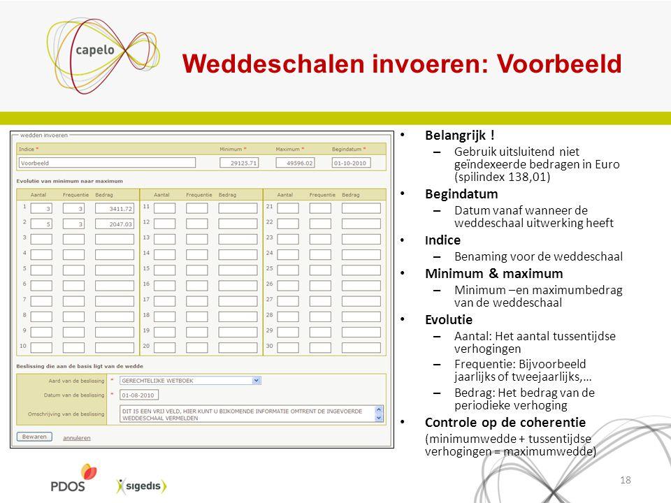 Weddeschalen invoeren: Voorbeeld 18 Belangrijk ! – Gebruik uitsluitend niet geïndexeerde bedragen in Euro (spilindex 138,01) Begindatum – Datum vanaf