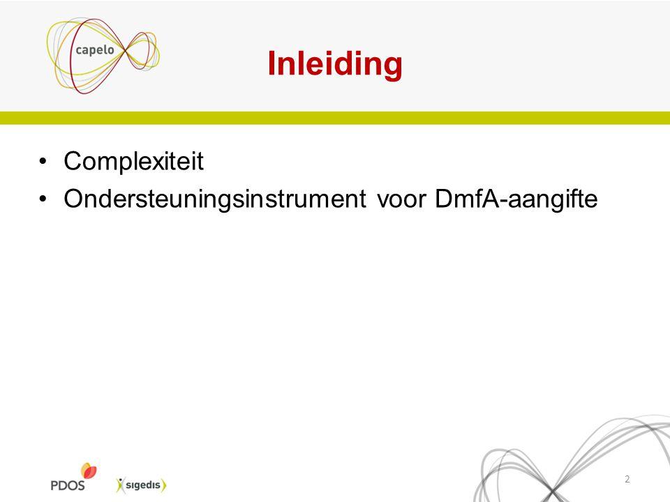 Inleiding Complexiteit Ondersteuningsinstrument voor DmfA-aangifte 2