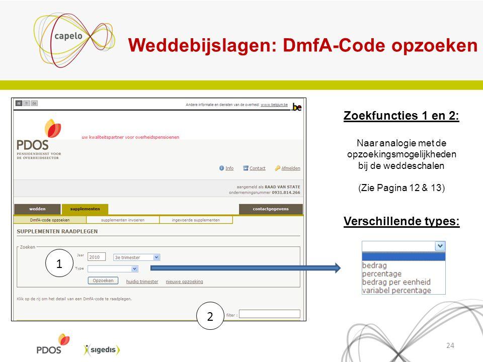 Weddebijslagen: DmfA-Code opzoeken 24 Verschillende types: Zoekfuncties 1 en 2: Naar analogie met de opzoekingsmogelijkheden bij de weddeschalen (Zie