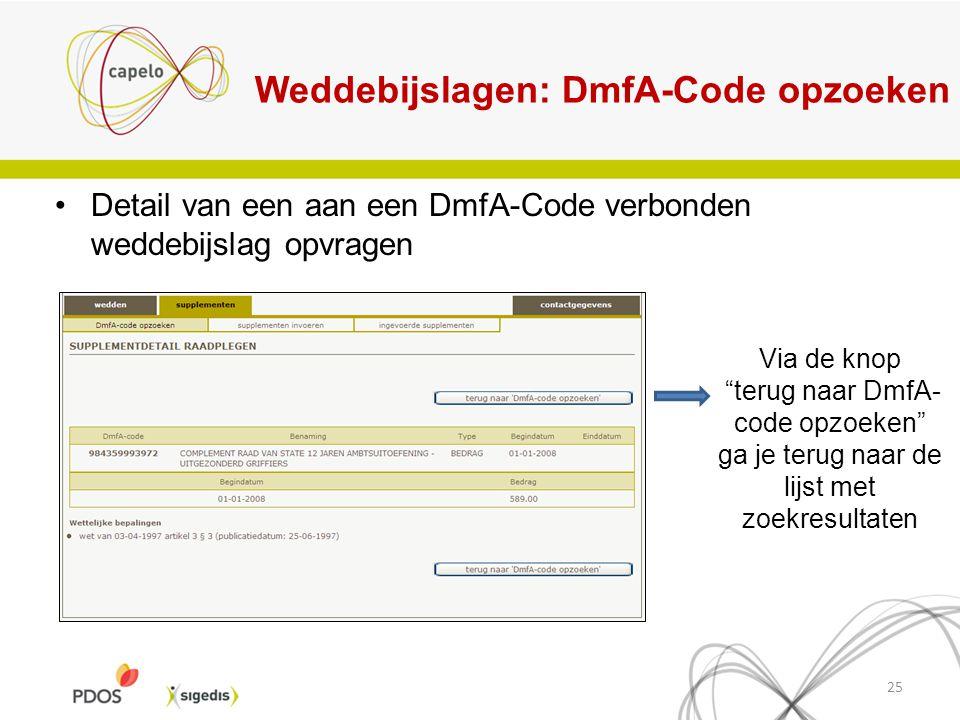 """Weddebijslagen: DmfA-Code opzoeken Detail van een aan een DmfA-Code verbonden weddebijslag opvragen 25 Via de knop """"terug naar DmfA- code opzoeken"""" ga"""