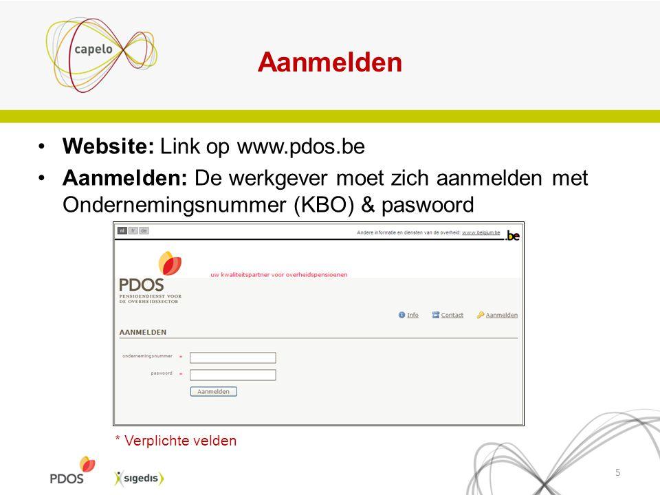 Aanmelden Website: Link op www.pdos.be Aanmelden: De werkgever moet zich aanmelden met Ondernemingsnummer (KBO) & paswoord 5 * Verplichte velden