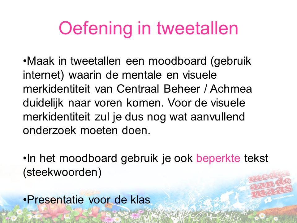 Maak in tweetallen een moodboard (gebruik internet) waarin de mentale en visuele merkidentiteit van Centraal Beheer / Achmea duidelijk naar voren kome