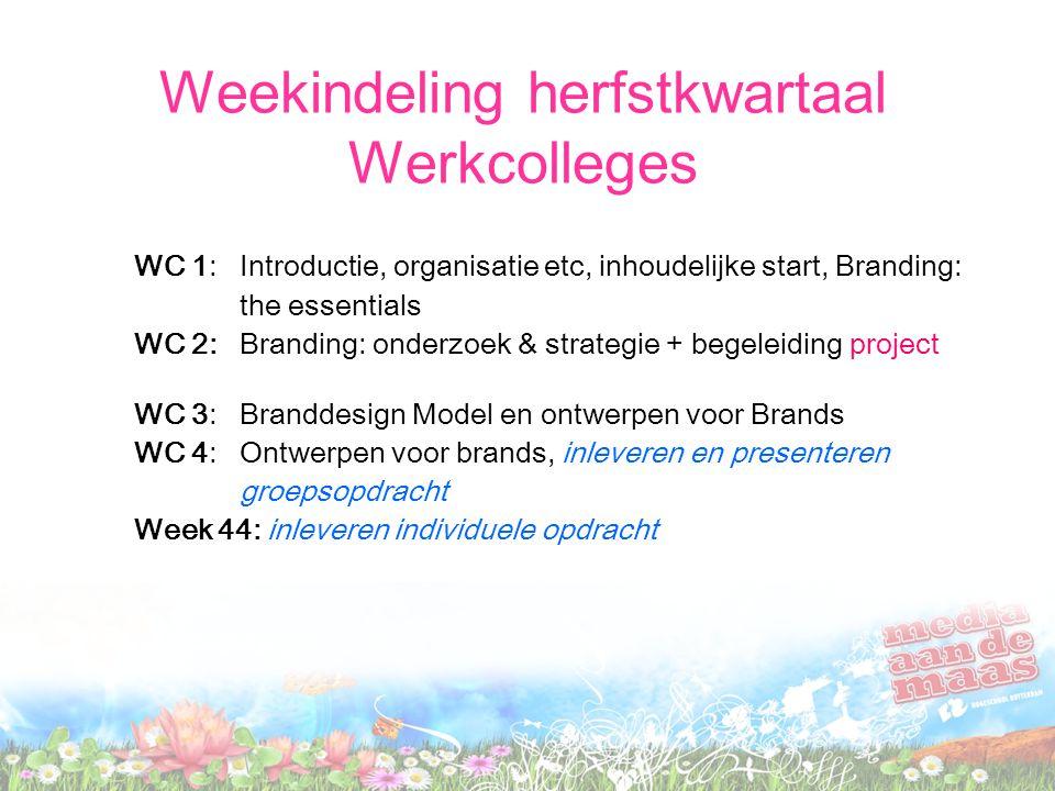 Weekindeling Hoorcolleges HC 1: Wk 36 Essentials van Branding (Wheeler part 1) HC 2: Wk 38 Het Branding Proces (Wheeler part 2) HC 3: Wk 42 Het vormgeven van Brands (Wheeler part 3)