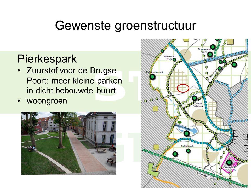 Gewenste groenstructuur Pierkespark Zuurstof voor de Brugse Poort: meer kleine parken in dicht bebouwde buurt woongroen