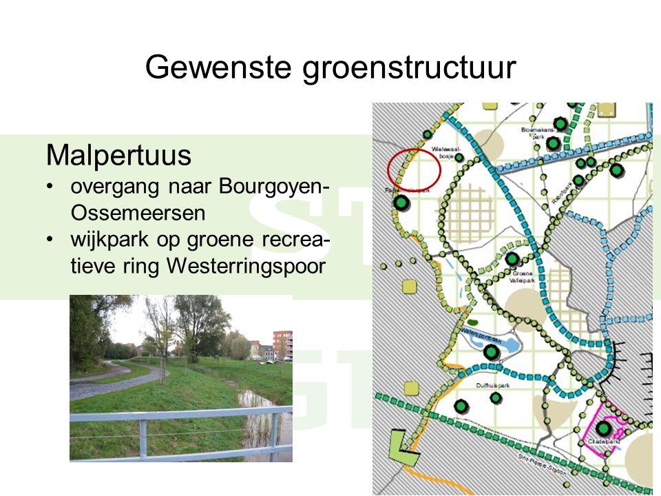 Gewenste groenstructuur Malpertuus overgang naar Bourgoyen- Ossemeersen wijkpark op groene recrea- tieve ring Westerringspoor