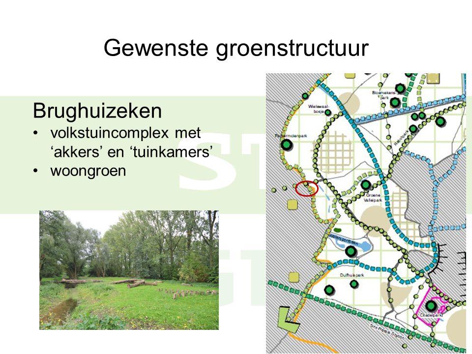 Gewenste groenstructuur Brughuizeken volkstuincomplex met 'akkers' en 'tuinkamers' woongroen