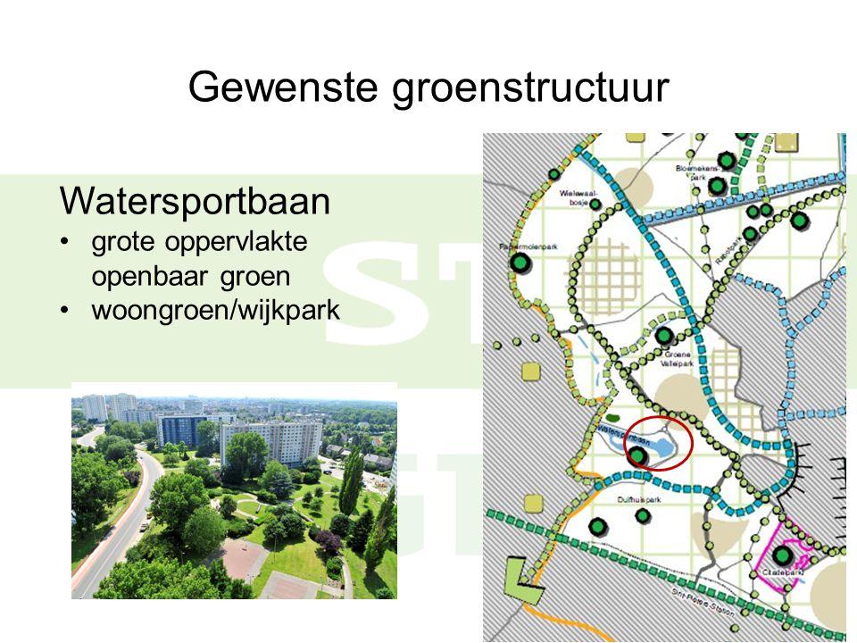 Gewenste groenstructuur Watersportbaan grote oppervlakte openbaar groen woongroen/wijkpark