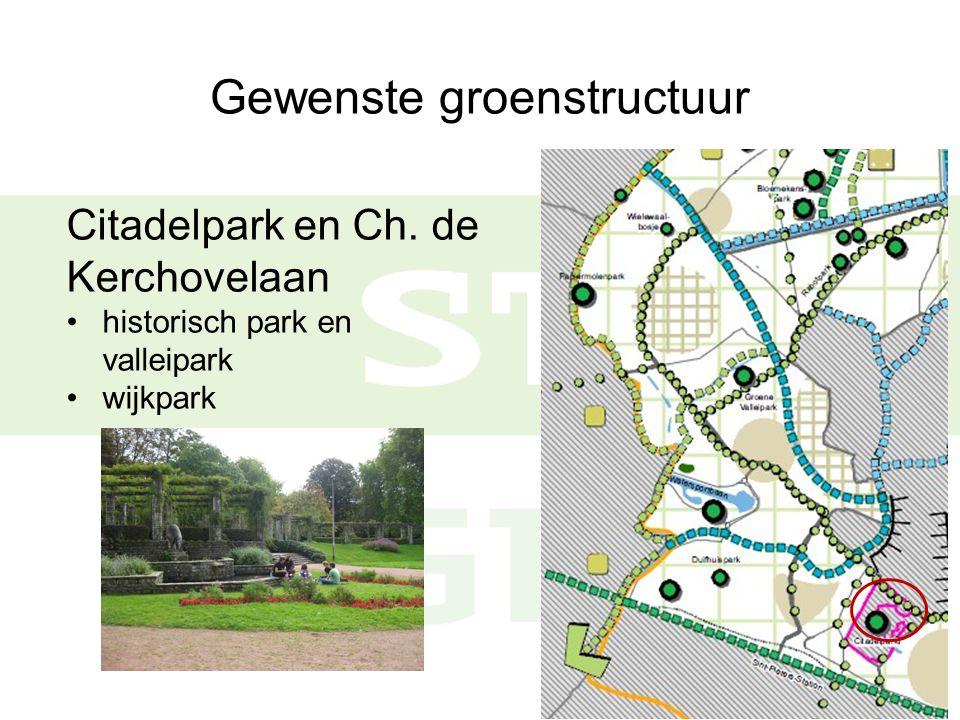 Gewenste groenstructuur Citadelpark en Ch. de Kerchovelaan historisch park en valleipark wijkpark