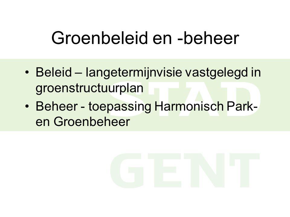Groenbeleid en -beheer Beleid – langetermijnvisie vastgelegd in groenstructuurplan Beheer - toepassing Harmonisch Park- en Groenbeheer