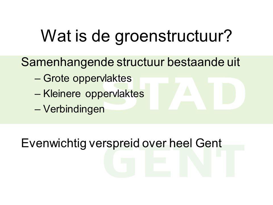 Gewenste groenstructuur Gent  Verschillende thema's: recreatief groen, natuur, bos en landschap  Verschillende schaalniveaus: Gent en deelruimten