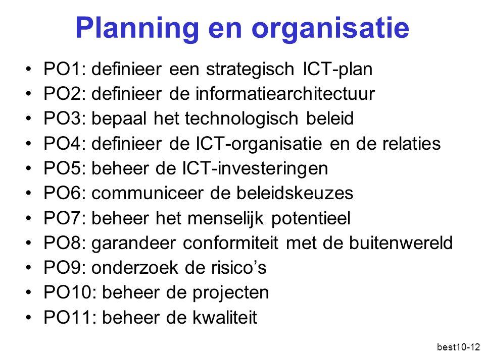 best10-12 Planning en organisatie PO1: definieer een strategisch ICT-plan PO2: definieer de informatiearchitectuur PO3: bepaal het technologisch beleid PO4: definieer de ICT-organisatie en de relaties PO5: beheer de ICT-investeringen PO6: communiceer de beleidskeuzes PO7: beheer het menselijk potentieel PO8: garandeer conformiteit met de buitenwereld PO9: onderzoek de risico's PO10: beheer de projecten PO11: beheer de kwaliteit
