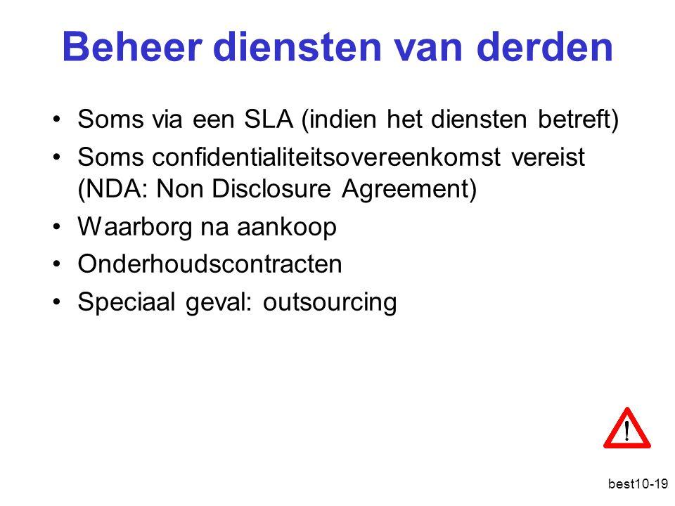 best10-19 Beheer diensten van derden Soms via een SLA (indien het diensten betreft) Soms confidentialiteitsovereenkomst vereist (NDA: Non Disclosure Agreement) Waarborg na aankoop Onderhoudscontracten Speciaal geval: outsourcing