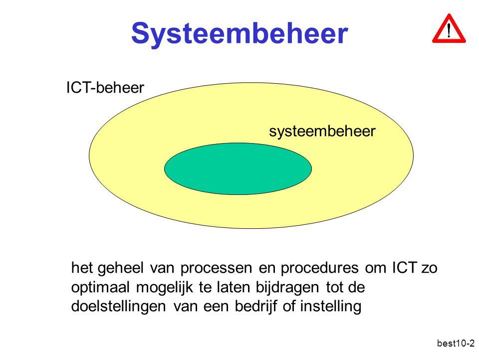 best10-2 Systeembeheer systeembeheer ICT-beheer het geheel van processen en procedures om ICT zo optimaal mogelijk te laten bijdragen tot de doelstellingen van een bedrijf of instelling