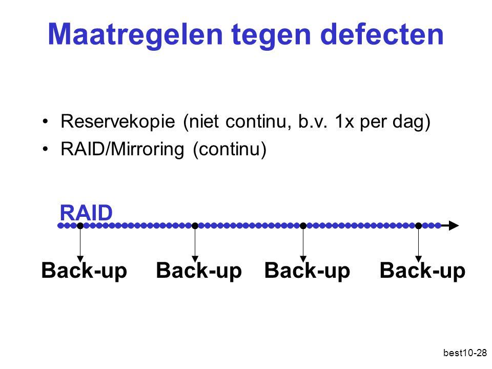 best10-28 Maatregelen tegen defecten Reservekopie (niet continu, b.v.