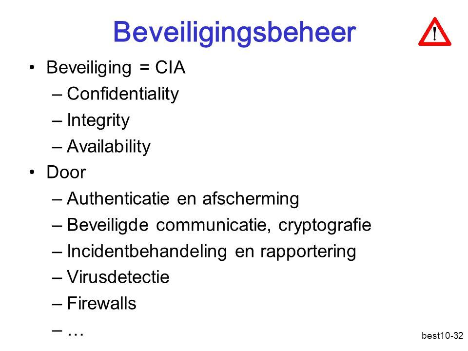 best10-32 Beveiligingsbeheer Beveiliging = CIA –Confidentiality –Integrity –Availability Door –Authenticatie en afscherming –Beveiligde communicatie, cryptografie –Incidentbehandeling en rapportering –Virusdetectie –Firewalls –…