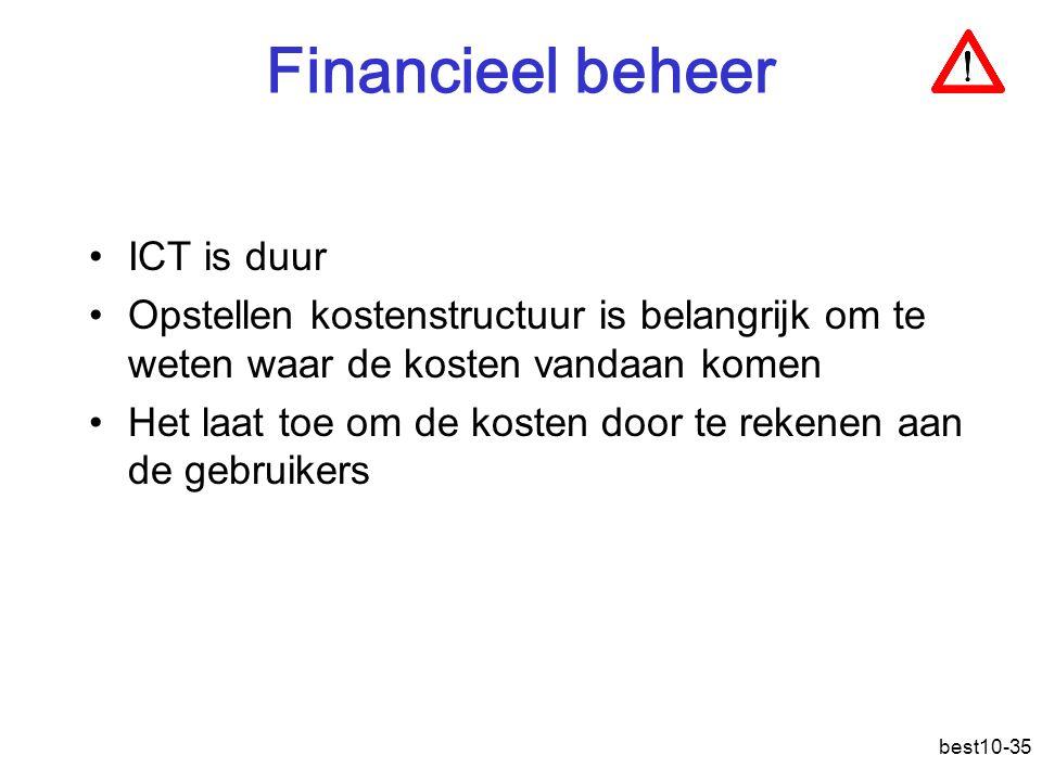 best10-35 Financieel beheer ICT is duur Opstellen kostenstructuur is belangrijk om te weten waar de kosten vandaan komen Het laat toe om de kosten door te rekenen aan de gebruikers