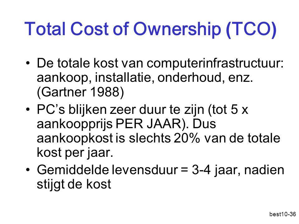 best10-36 Total Cost of Ownership ( TCO ) De totale kost van computerinfrastructuur: aankoop, installatie, onderhoud, enz.