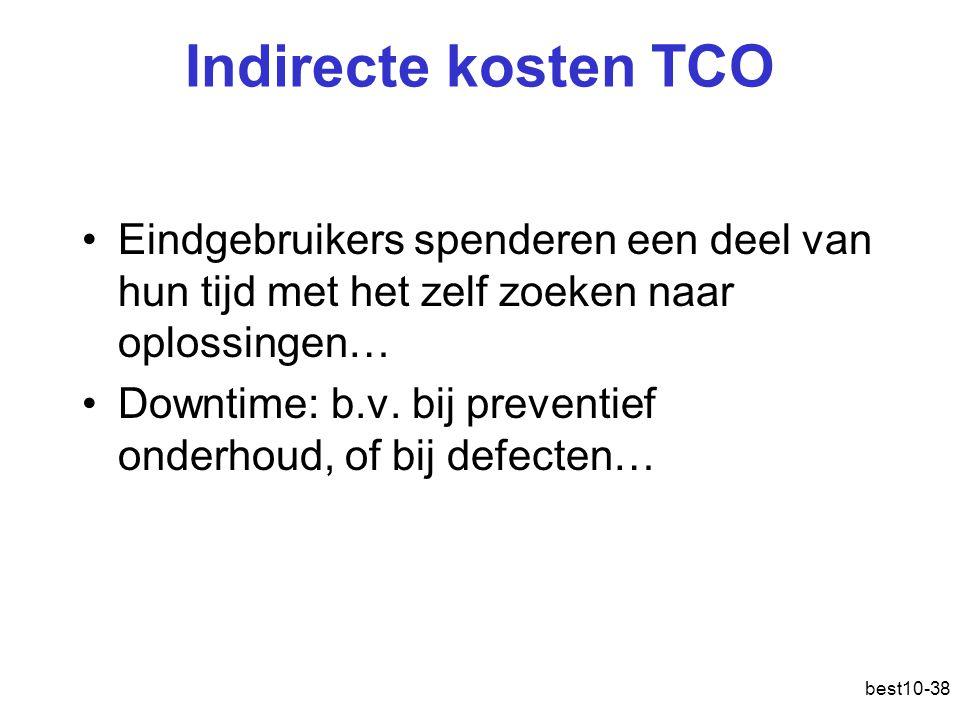 best10-38 Indirecte kosten TCO Eindgebruikers spenderen een deel van hun tijd met het zelf zoeken naar oplossingen… Downtime: b.v.