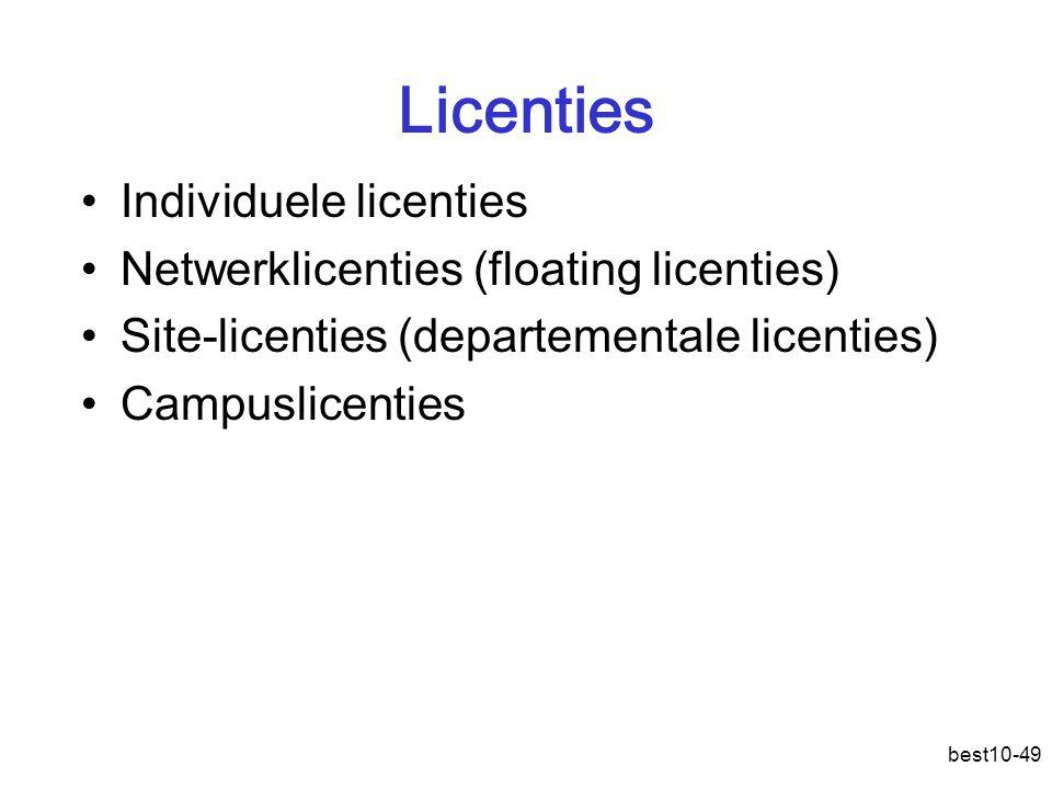 best10-49 Licenties Individuele licenties Netwerklicenties (floating licenties) Site-licenties (departementale licenties) Campuslicenties