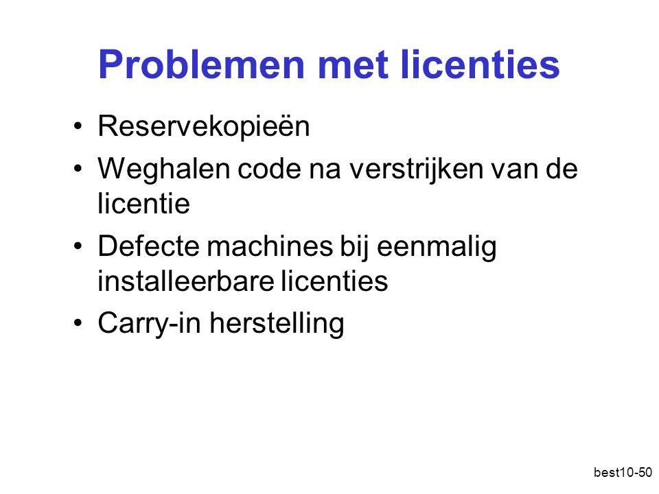 best10-50 Problemen met licenties Reservekopieën Weghalen code na verstrijken van de licentie Defecte machines bij eenmalig installeerbare licenties Carry-in herstelling