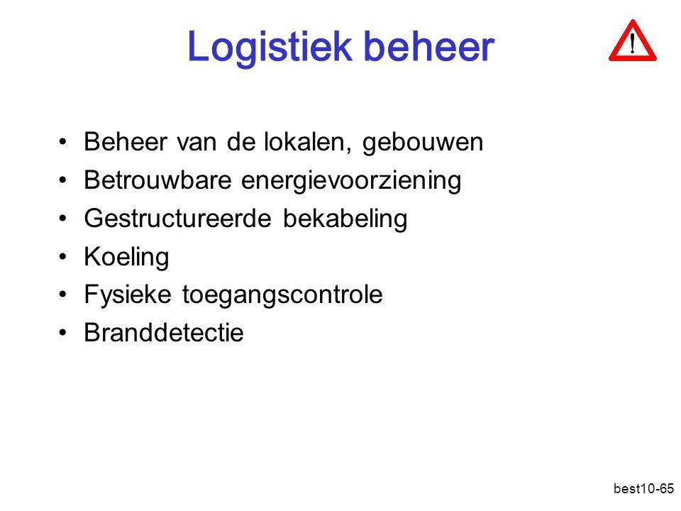 best10-65 Logistiek beheer Beheer van de lokalen, gebouwen Betrouwbare energievoorziening Gestructureerde bekabeling Koeling Fysieke toegangscontrole Branddetectie