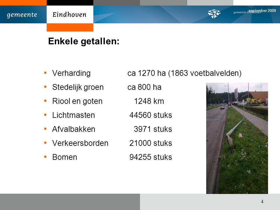 september 2009 4 Enkele getallen: Verharding ca 1270 ha (1863 voetbalvelden) Stedelijk groen ca 800 ha Riool en goten 1248 km Lichtmasten 44560 stuks