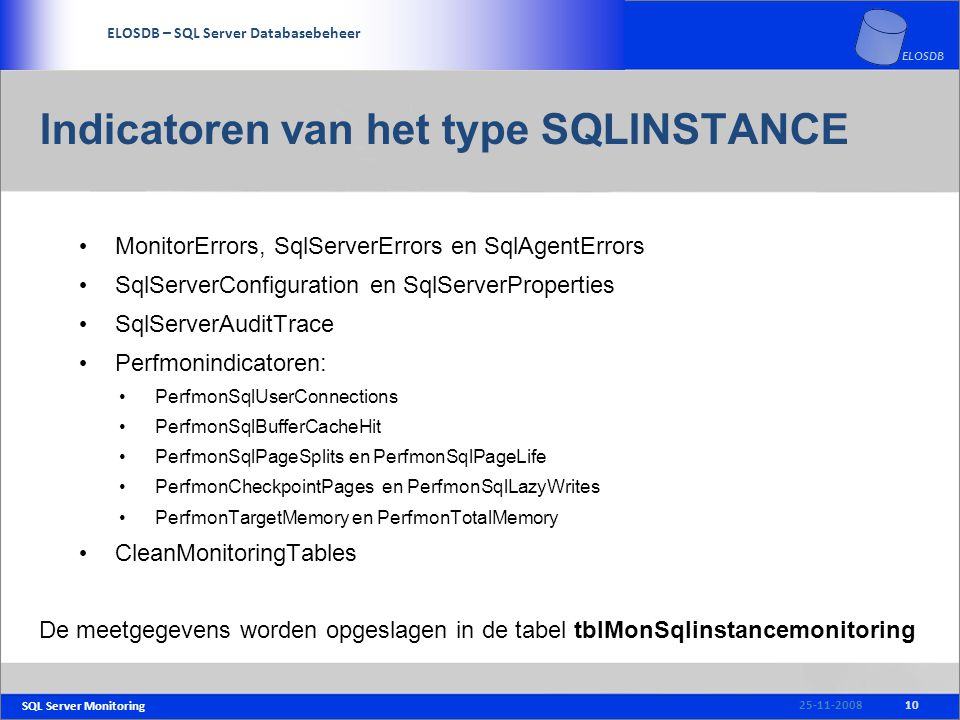SQL Server Monitoring SERVICE DELIVERY – SQL Server Beheer ELOSDB – SQL Server Databasebeheer ELOSDB Indicatoren van het type SQLINSTANCE MonitorError