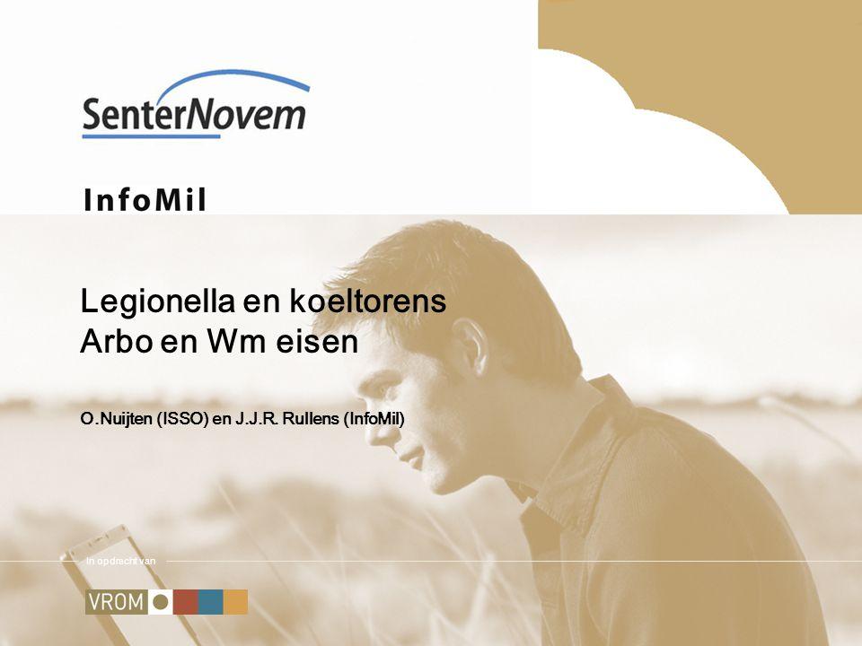 InfoMil is een opdracht van VROM en onderdeel van SenterNovem Hoe te handelen bij besmetting Besmettingsrisico Concentratie legionella in de lucht Bevolkingsdichtheid Weerstand bevolking/werknemer Expositietijd