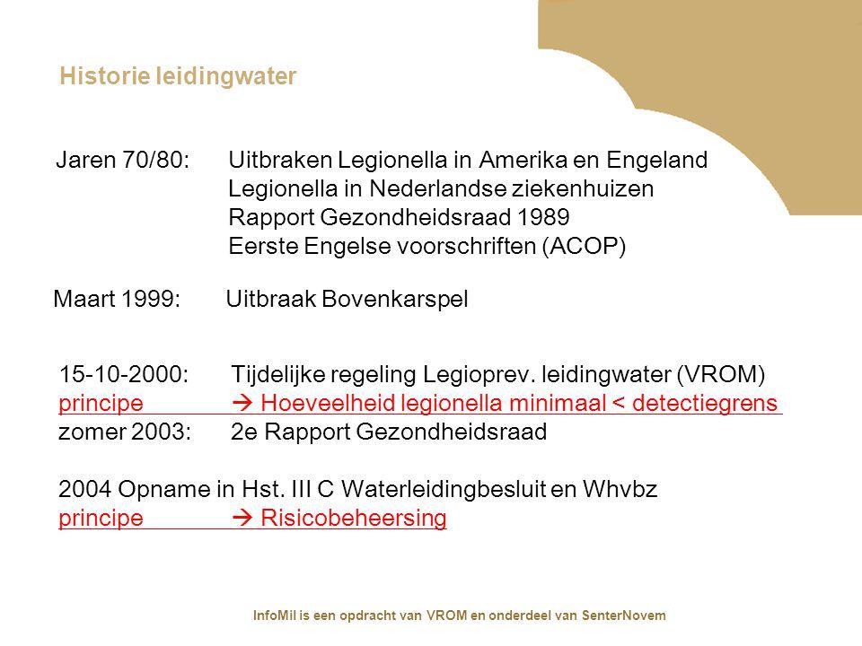 InfoMil is een opdracht van VROM en onderdeel van SenterNovem Historie proceswater / industriële watersystemen 1-1-2004: Arbobeleidsregel 4.87 Tot Bovenkarspel zelfde voorgeschiedenis 2000-2001 Onderzoek SZW koeltorensystemen en airco's 2004 Arbo-informatieblad 32 (Sdu publicatie) Uitbraken door koeltorens: Zomer 2001 Murcia (Spanje) Januari 2004 Harnes (Frankrijk) Mei 2006 Pamplona (Spanje) Juli 2006 Amsterdam Augustus 2006 Start publicatie ISSO 55.3 i.o.v.