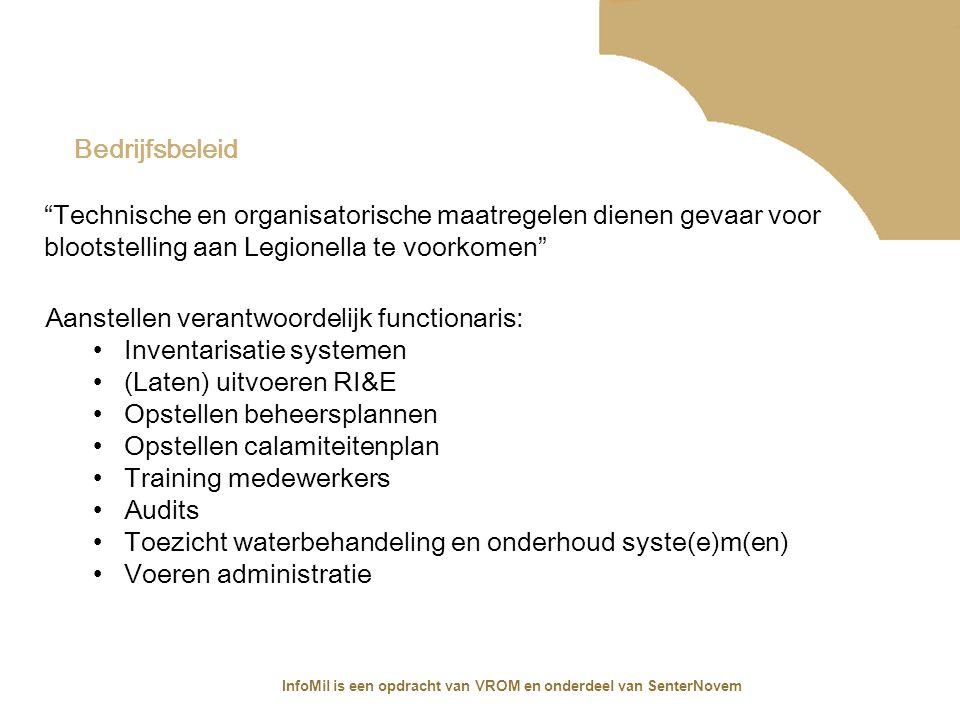 InfoMil is een opdracht van VROM en onderdeel van SenterNovem Bedrijfsbeleid Aanstellen verantwoordelijk functionaris: Inventarisatie systemen (Laten)
