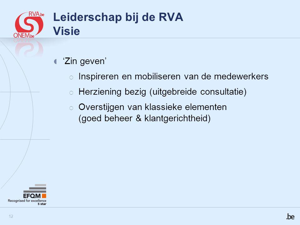 13 Leiderschap bij de RVA Visie  Impact op de samenleving  Partnership  Bijdrage van de supportdirecties