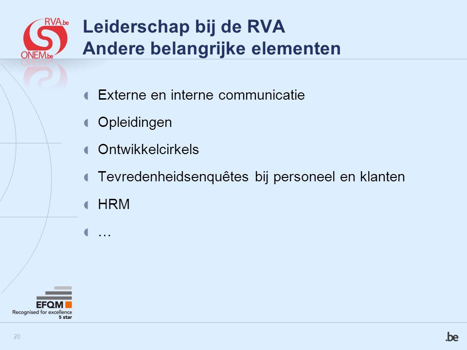 21 Leiderschap bij de RVA Andere belangrijke elementen