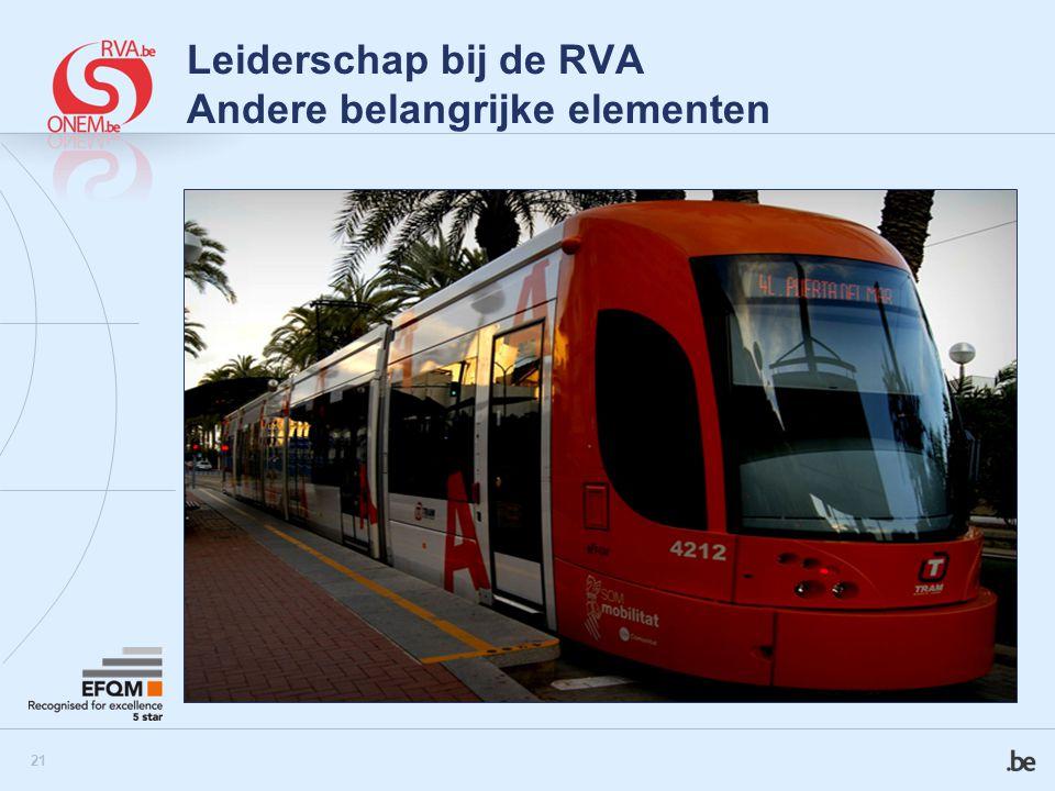 22 Leiderschap bij de RVA Andere belangrijke elementen  Tram : TRAject Management voor kaderleden