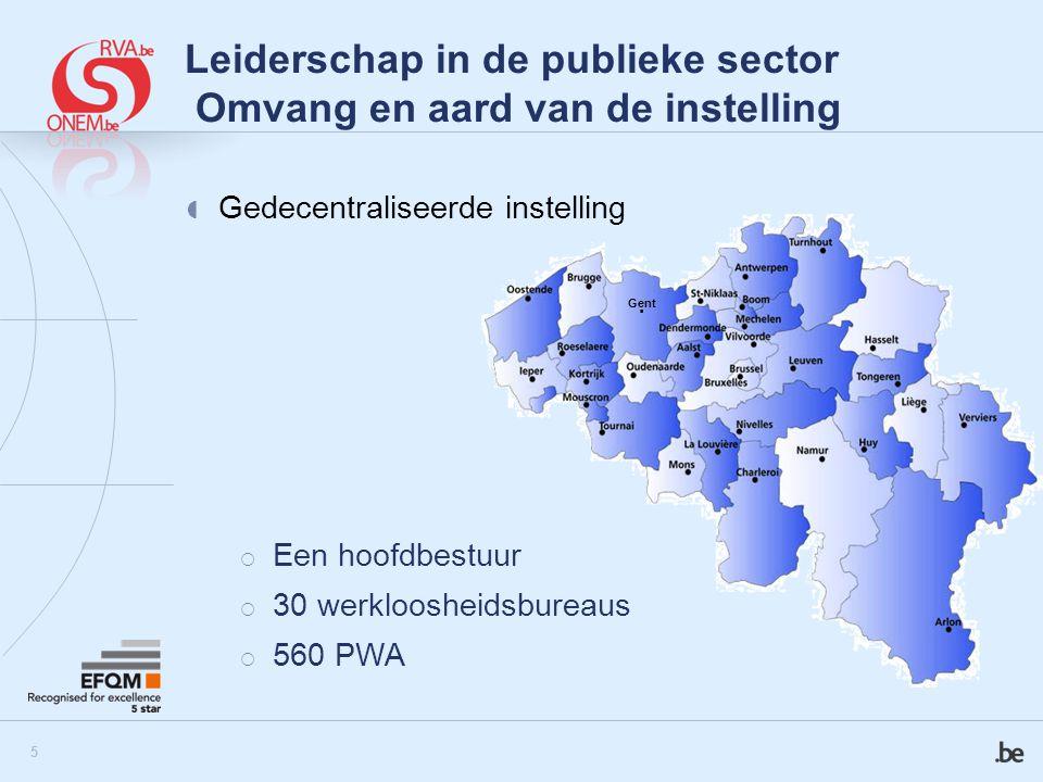 6 Leiderschap in de publieke sector Grootte en type van instelling FSO Dienstencheques