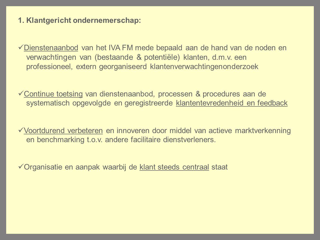 1. Klantgericht ondernemerschap: Dienstenaanbod van het IVA FM mede bepaald aan de hand van de noden en verwachtingen van (bestaande & potentiële) kla