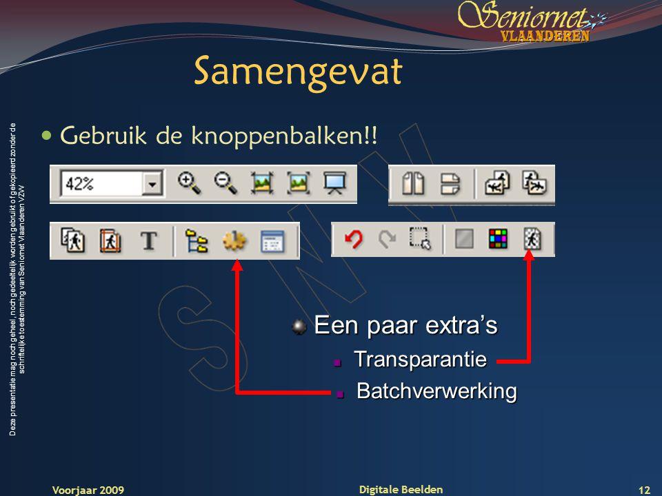 Deze presentatie mag noch geheel, noch gedeeltelijk worden gebruikt of gekopieerd zonder de schriftelijke toestemming van Seniornet Vlaanderen VZW Voorjaar 2009 Digitale Beelden 12 Samengevat Gebruik de knoppenbalken!.
