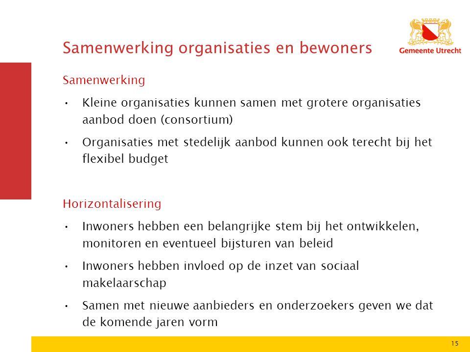 15 Samenwerking organisaties en bewoners Samenwerking Kleine organisaties kunnen samen met grotere organisaties aanbod doen (consortium) Organisaties