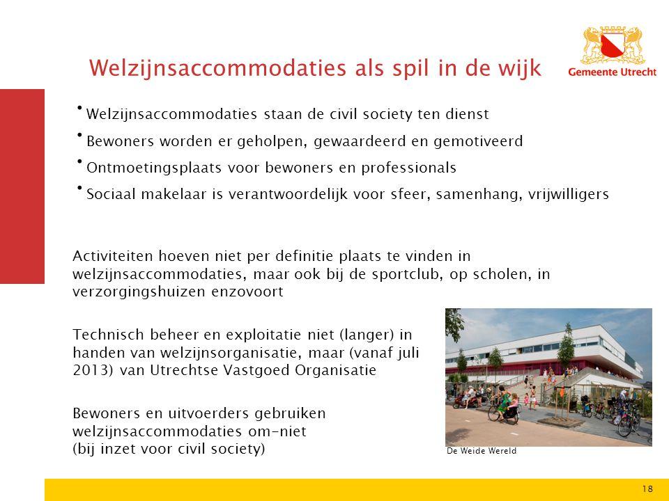 18 Welzijnsaccommodaties als spil in de wijk De Weide Wereld Welzijnsaccommodaties staan de civil society ten dienst Bewoners worden er geholpen, gewa