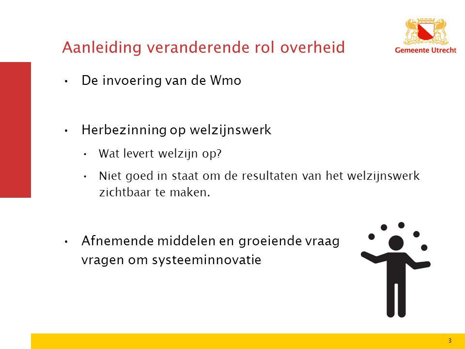 3 Aanleiding veranderende rol overheid De invoering van de Wmo Herbezinning op welzijnswerk Wat levert welzijn op? Niet goed in staat om de resultaten