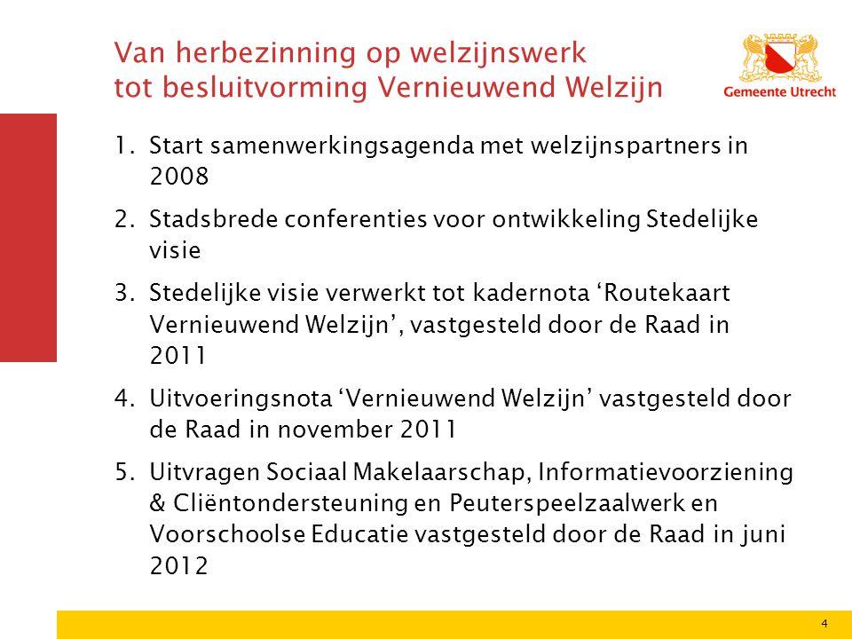 4 Van herbezinning op welzijnswerk tot besluitvorming Vernieuwend Welzijn 1.Start samenwerkingsagenda met welzijnspartners in 2008 2.Stadsbrede confer