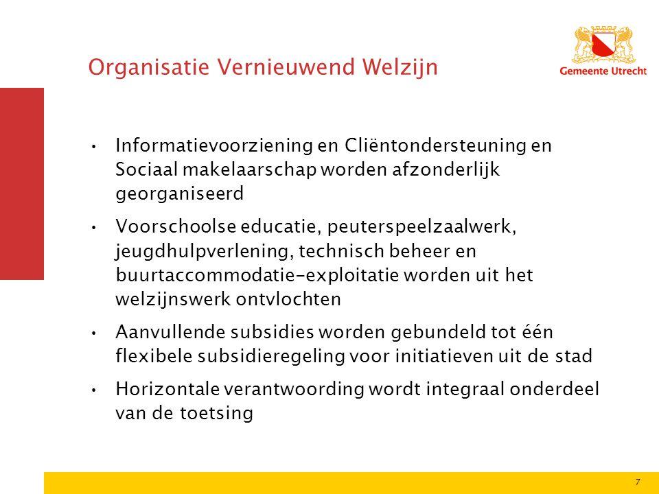 7 Organisatie Vernieuwend Welzijn Informatievoorziening en Cliëntondersteuning en Sociaal makelaarschap worden afzonderlijk georganiseerd Voorschoolse