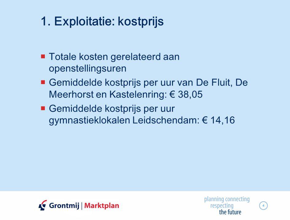 4 1. Exploitatie: kostprijs  Totale kosten gerelateerd aan openstellingsuren  Gemiddelde kostprijs per uur van De Fluit, De Meerhorst en Kastelenrin