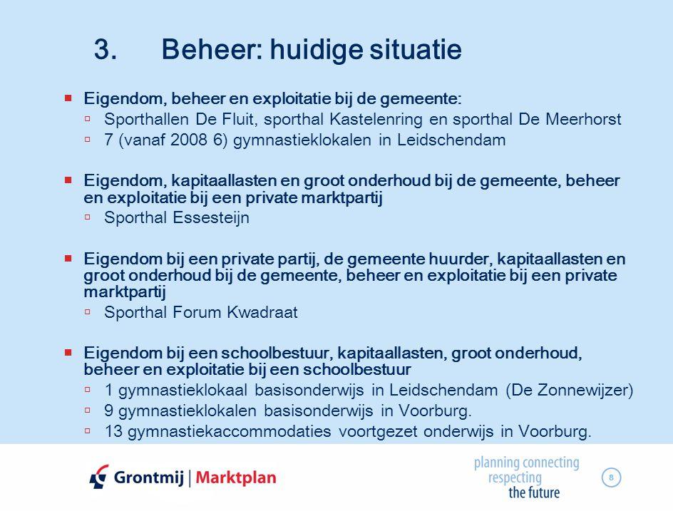 8 3. Beheer: huidige situatie  Eigendom, beheer en exploitatie bij de gemeente:  Sporthallen De Fluit, sporthal Kastelenring en sporthal De Meerhors