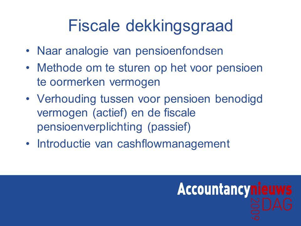 Fiscale dekkingsgraad Naar analogie van pensioenfondsen Methode om te sturen op het voor pensioen te oormerken vermogen Verhouding tussen voor pensioen benodigd vermogen (actief) en de fiscale pensioenverplichting (passief) Introductie van cashflowmanagement