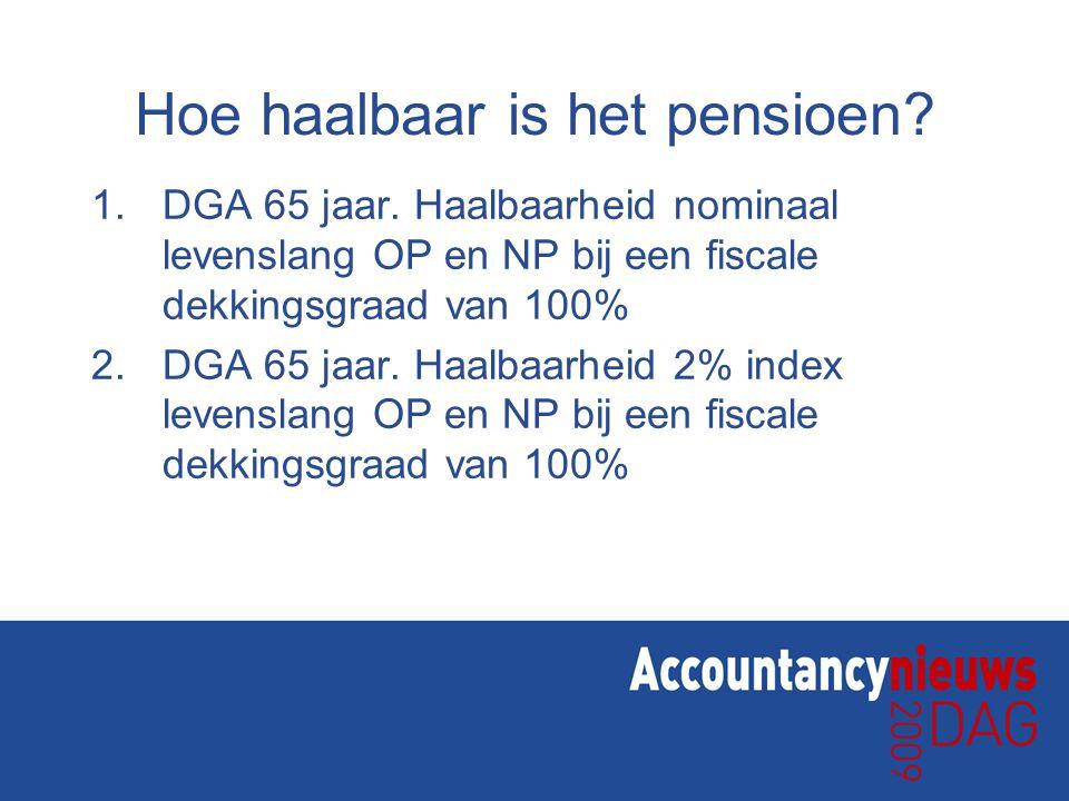 Hoe haalbaar is het pensioen? 1.DGA 65 jaar. Haalbaarheid nominaal levenslang OP en NP bij een fiscale dekkingsgraad van 100% 2.DGA 65 jaar. Haalbaarh