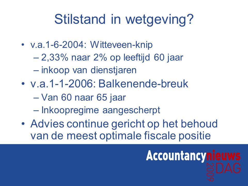 Stilstand in wetgeving? v.a.1-6-2004: Witteveen-knip –2,33% naar 2% op leeftijd 60 jaar –inkoop van dienstjaren v.a.1-1-2006: Balkenende-breuk –Van 60