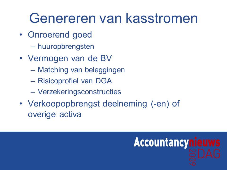 Genereren van kasstromen Onroerend goed –huuropbrengsten Vermogen van de BV –Matching van beleggingen –Risicoprofiel van DGA –Verzekeringsconstructies Verkoopopbrengst deelneming (-en) of overige activa
