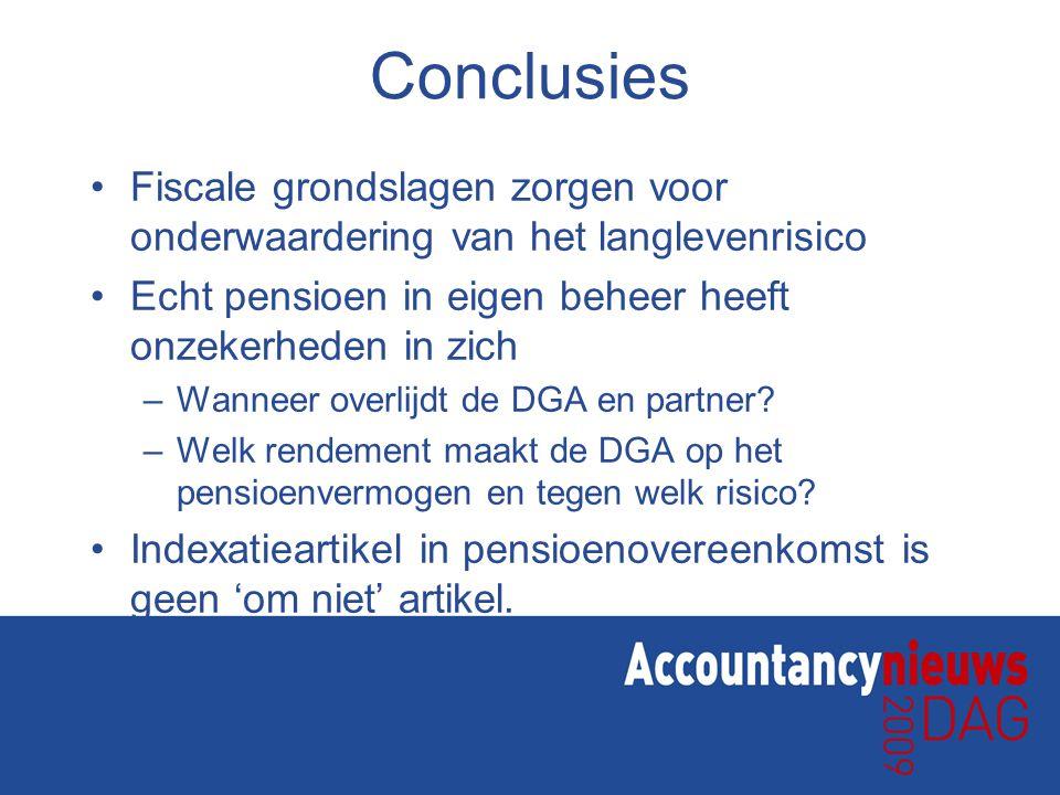Conclusies Fiscale grondslagen zorgen voor onderwaardering van het langlevenrisico Echt pensioen in eigen beheer heeft onzekerheden in zich –Wanneer o