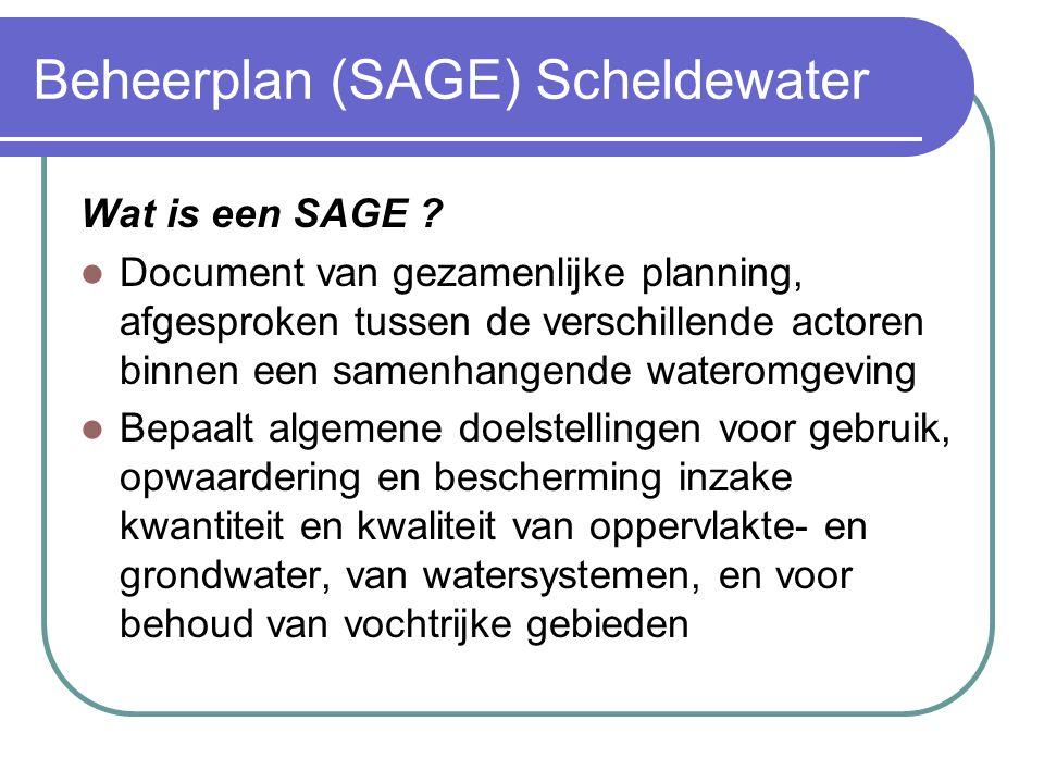Beheerplan (SAGE) Scheldewater Wat is een SAGE .